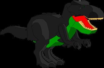 Lego Used Dark Green Dinosaur Mutant Tyrannosaurus Rex with Light-Up Eyes