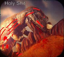 The Horned Ceratosaurus gets scratched by a plant-eating Stegosaurus