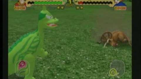 Dinosaur King Arcade Game Battle Scene Animated Tsintaosaurus