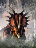 Styracosaurus in the forest by deskridge d9nxrui-pre