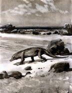 Protosuchus by zdenek burian 1962.JPG