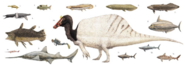 Cretaceous African aquatic fauna size comparison