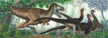 Tyrannosaur charge by alexandernevsky-d59vlvs