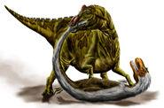 Edmontosaurus pounding Albertosaurus by durbed