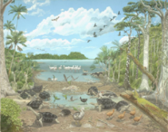 Illustration of animals flourishing on Mauritius