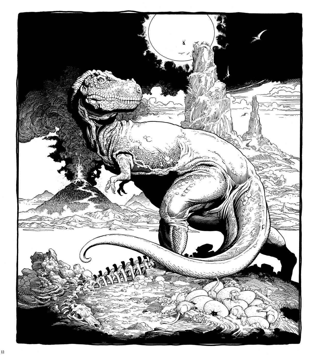 William Stout Dinosaur Coloring Page T Rex