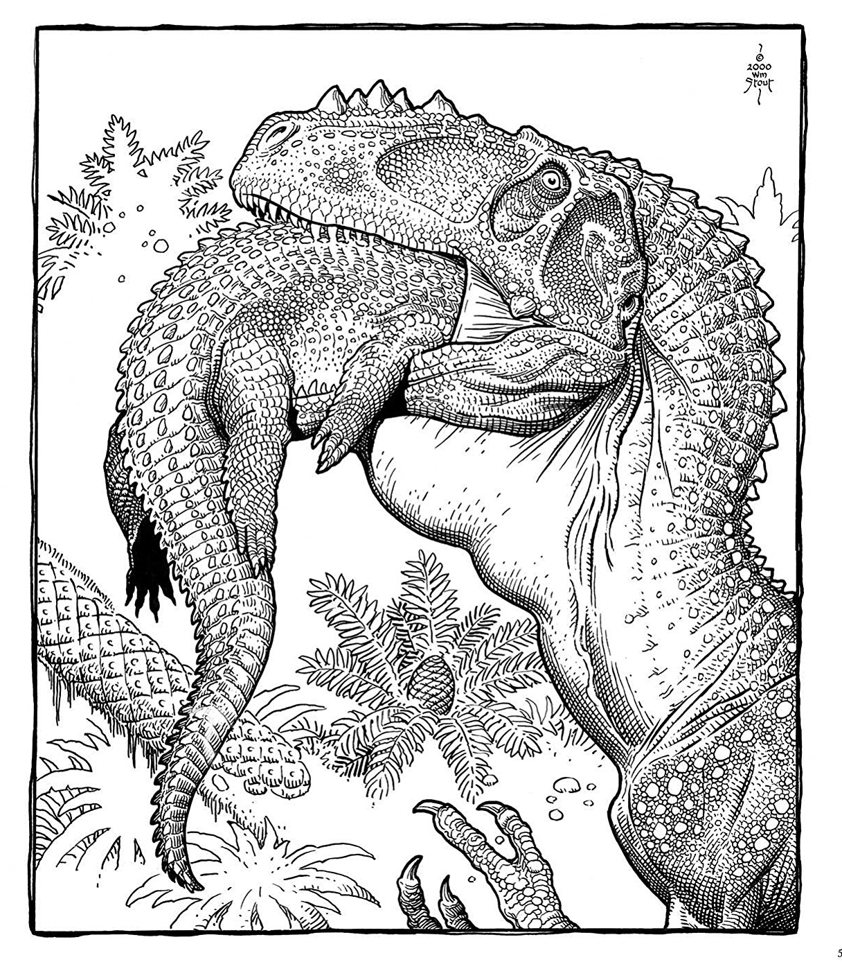 William Stout Dinosaur Coloring Page Alioramus