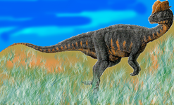 Reconstrution of Dilophosaurus walking near a lake.