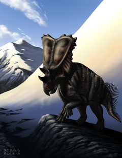 Chasmosaurus in the mountains by microcosmicecology-d79v90n.png