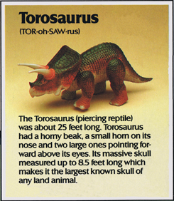 Dino Riders fact card Torosaurus