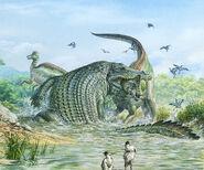 Deinosuchus-reptile-attacking-a-dinosaur-john-sibbick--science-photo-library