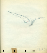 Fantasia Pterodactyl cel Disney production Drawing 1940