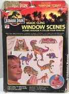 1992 Jurassic Park Magic Cling Window Scenes by Craft House 1