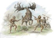 C0151509-Neanderthals hunting Irish elk, artwork