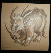 Disney World Animal Kingdom Styracosaurus 5 x 5 Collectible Dinoland Card front