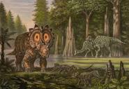 Regaliceratops Leptoceratops Hypacrosaurus art