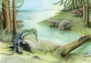Lystrosaurus maccaigi drinking near the river while large archosaur begins to hunt them.