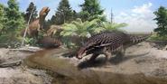 Borealopelta markmitchelli coexists with theropods