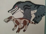 Andrewsarchus and gorgonopsid by joshxmattfoxes73 dcjeboh