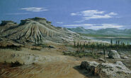 Artists-impression-of-triassic-period-landscape-ludek-pesek
