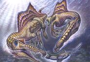 Spinosaurus aegyptiacus pair on onchopristis prey by paleopastori-d8hhd5v