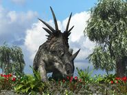 Styracosaurus and flowers 1280