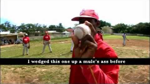 Dirty Sanchez pegged with baseballs