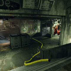 If Jackal heads to the right, they'll find themselves in the belly of a gallery of a different sort - an underground skate park that ploughs up towards Pylon B.