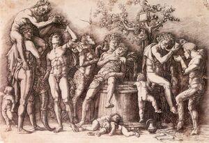 Bacco - Mantegna, Andrea - Baccanale col tino -1470 ca -