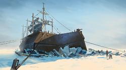Baleniera intrappolata nel ghiacchio