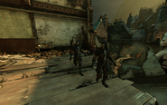 Flooded district, whalers protecting daud