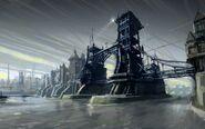 Dunwall bridge concept art by Viktor Antonov