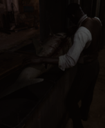 Civilian Cutting a Fish