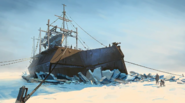 Whale trawler ice painting
