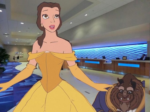 File:Belle and Beast on Lobby at Disneyland Hotel.PNG