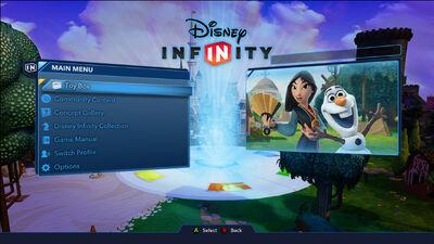Disney Infinity 3.0 menu