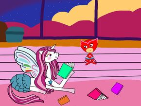 Cleo and Owlette reading books together