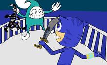 Catboy battles a bog