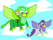 Greg, Sofia, and their griffins, Chamel and Violet