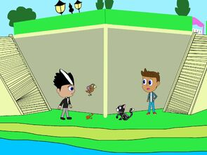 Romeo, Connor, and their pets at the corner