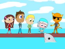 Connor, Amaya, Greg, Luna, Kwazii, and Little Matey the baby dolphin