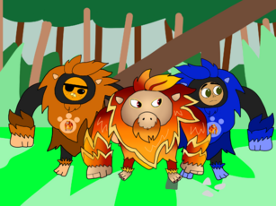 Kwazii and Captain Jake in Orangubang power suits with Big O