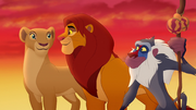 Simba, Nala, and Rafiki after Janja's defeat