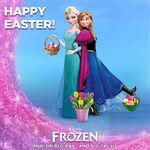 Anna and Elsa Happy Easter Poster