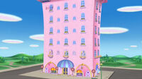 Pink building from minnie's bow toons