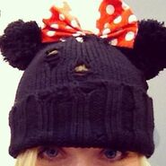 Knitted Minnie Mouse Beanie made by Chloë Agnew