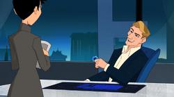 Kreis Assistentin redet mit ihrem Chef