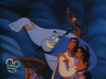 Aladdin and the crew waving