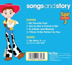 Songs and story toy story 3 back cover