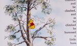 Winnie the Pooh is climbing up the honey tree